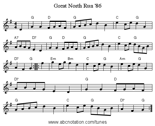 Great North Run '86 - staff notation