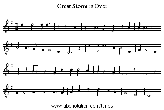 Great Storm is Over - staff notation