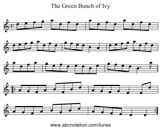 Green Bunch of Ivy, The - staff notation