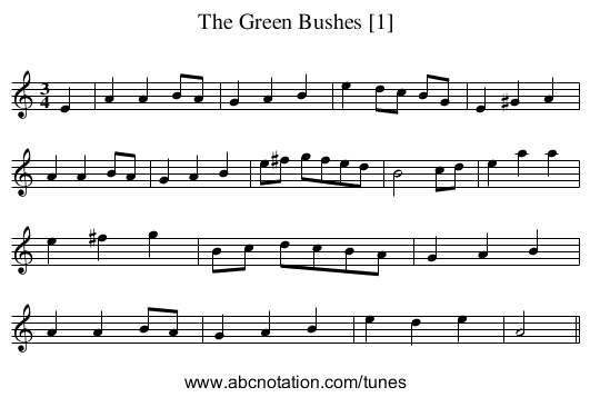 Green Bushes [1], The - staff notation