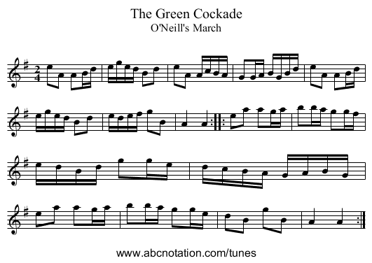 Green Cockade, The - staff notation