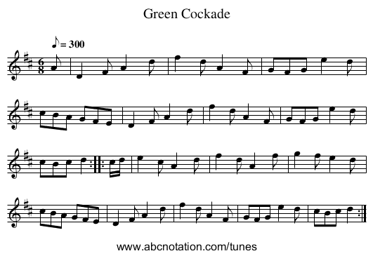 Green Cockade - staff notation