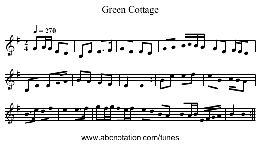 Green Cottage - staff notation