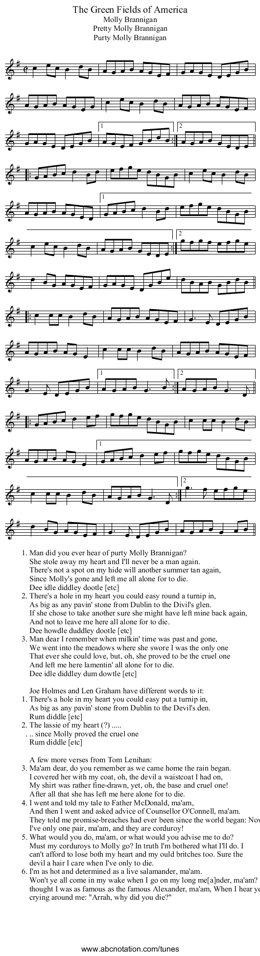 Green Fields of America, The - staff notation