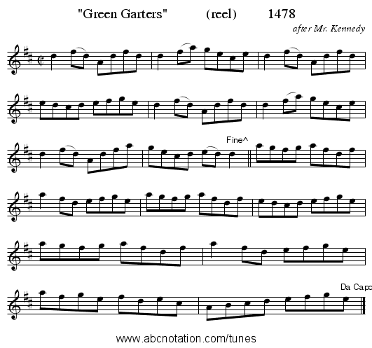Green Garters           (reel)         1478 - staff notation