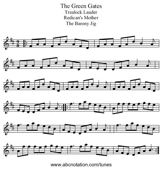 Green Gates, The - staff notation