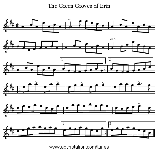 Green Groves of Erin, The - staff notation
