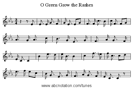 Green Grow the Rashes, O - staff notation