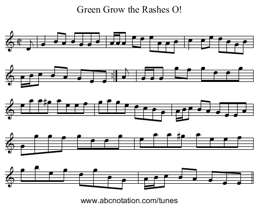 Green Grow the Rashes O! - staff notation