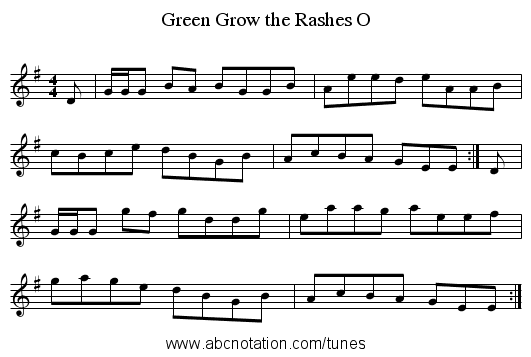 Green Grow the Rashes O - staff notation