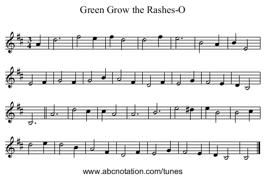 Green Grow the Rashes-O - staff notation