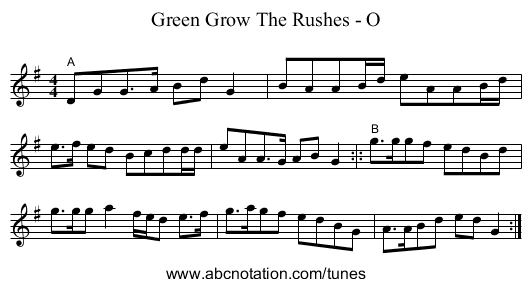 Green Grow The Rushes - O - staff notation