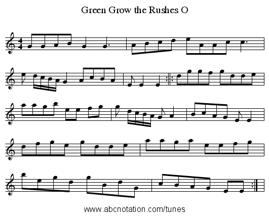 Green Grow the Rushes O - staff notation