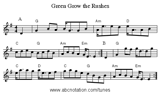 Green Grow the Rushes - staff notation