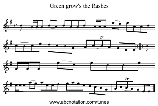 Green Grows the Rashes - staff notation