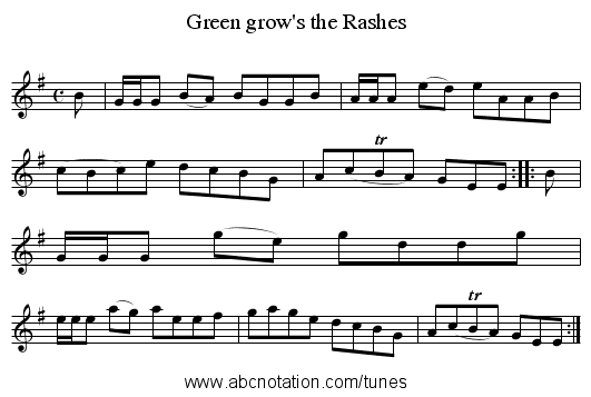 Green grow's the Rashes - staff notation