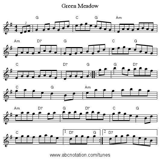 Green Meadow - staff notation