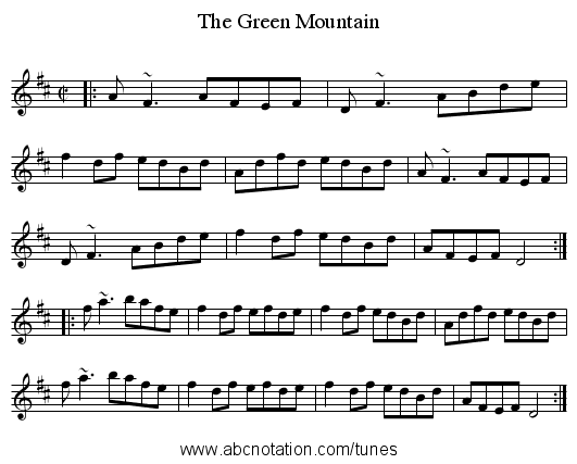 Green Mountain, The - staff notation