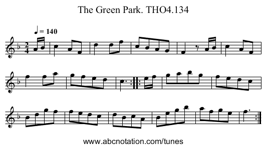 Green Park. THO4.134, The - staff notation