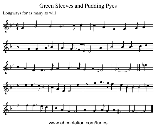 Green Sleeves and Pudding Pyes - staff notation