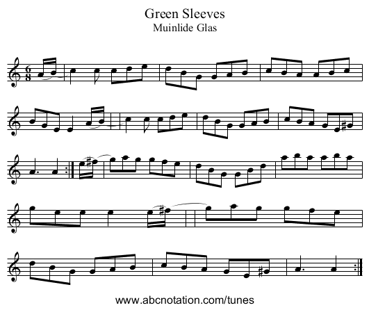 Green Sleeves - staff notation