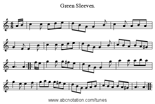 Green Sleeves. - staff notation