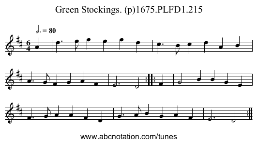 Green Stockings. (p)1675.PLFD1.215 - staff notation
