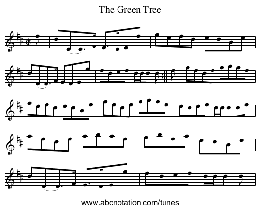 Green Tree, The - staff notation