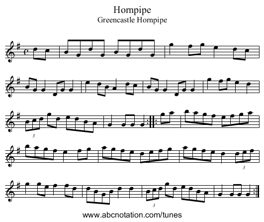 Greencastle Hornpipe, The - staff notation
