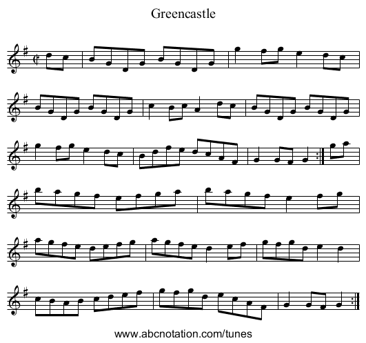 Greencastle - staff notation