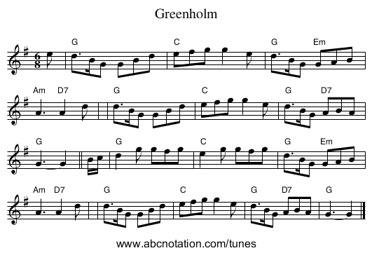 Greenholm - staff notation