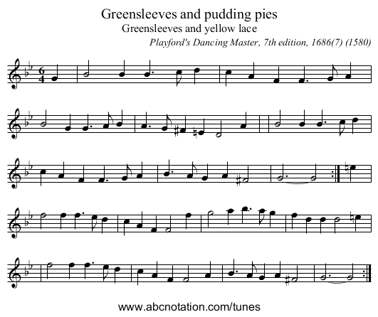 Greensleeves and pudding pies - staff notation