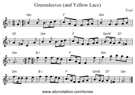 Greensleeves (and Yellow Lace) - staff notation