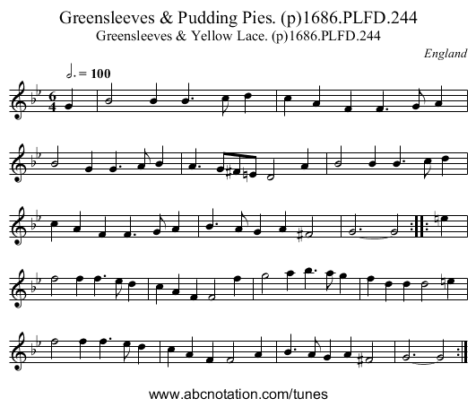 Greensleeves & Pudding Pies. (p)1686.PLFD.244 - staff notation