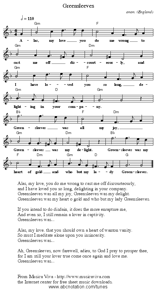 Greensleeves - staff notation