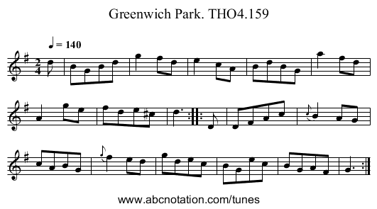 Greenwich Park. THO4.159 - staff notation