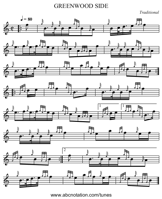 GREENWOOD SIDE - staff notation