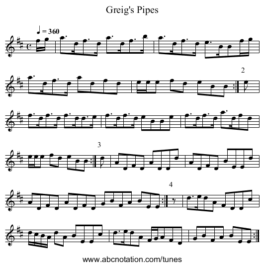 Greig's Pipes - staff notation