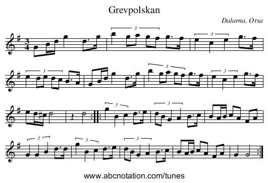 Grevpolskan - staff notation