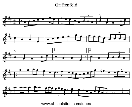 Griffenfeld - staff notation