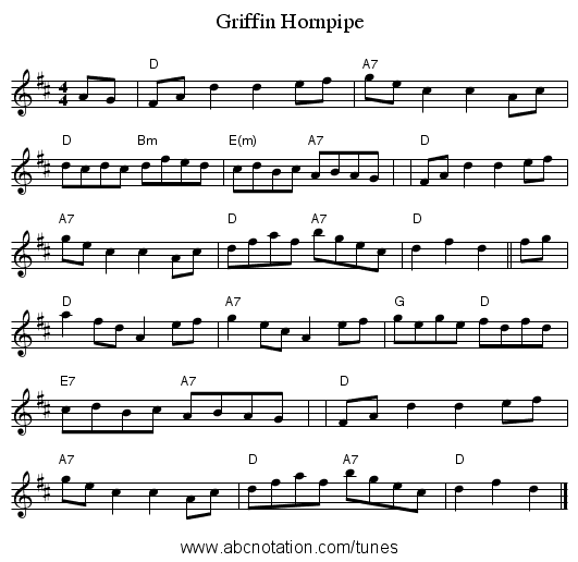 Griffin Hornpipe - staff notation