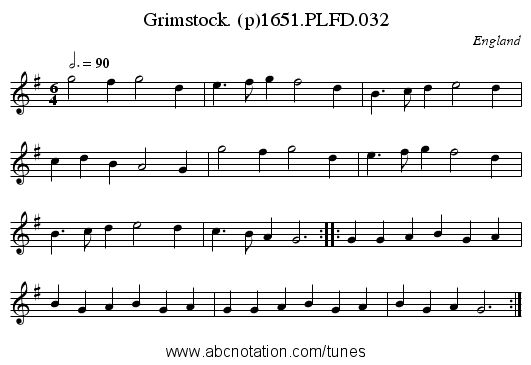 Grimstock. (p)1651.PLFD.032 - staff notation