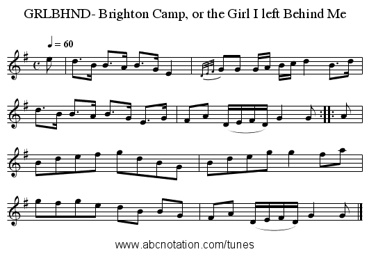 GRLBHND- Brighton Camp, or the Girl I left Behind Me - staff notation
