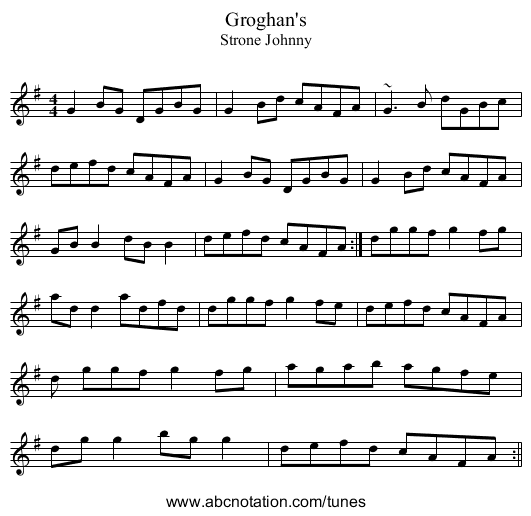 Groghan's - staff notation