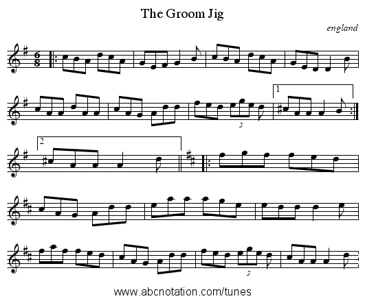 Groom Jig, The - staff notation