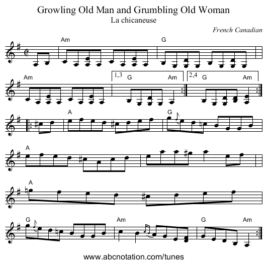 Growling Old Man and Grumbling Old Woman - staff notation