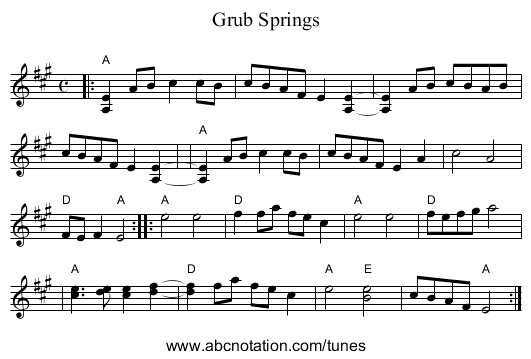 Grub Springs - staff notation