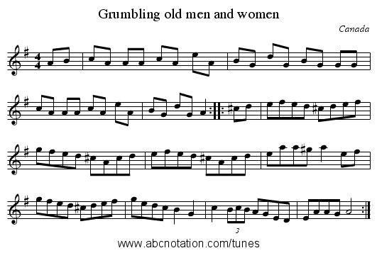 Grumbling old men and women - staff notation