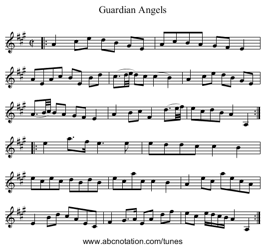 Guardian Angels - staff notation