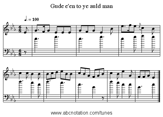 Gude e'en to ye auld man - staff notation